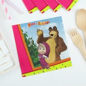 """Бумажные салфетки """"Маша и Медведь"""", 25 см, набор 12 шт."""