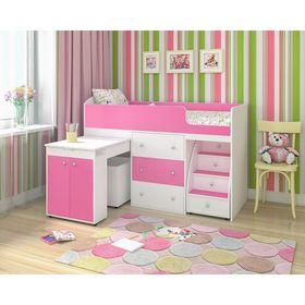 Кровать-чердак Ярофф Малыш 700x1600  Белое дерево розовый