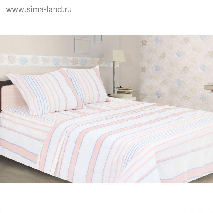Постельное бельё евро ANTALYA «Полоска оранжевая/синяя/белая», размер 200х220 см (на молнии), 220х240 см, 70х70 см-2 шт. (на молнии)