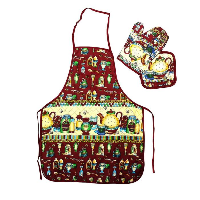 """Кухонный набор Collorista """"Чайник"""", 3 предмета: прихватка 17*17 см, варежка 17*24 см, фартук 50*70 см, 100% хлопок"""