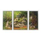 """Модульная картина в раме """"Волчья семья"""", 2 — 28×60, 1 — 44×60, 60×100 см"""
