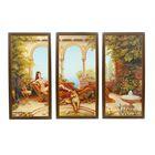 """Модульная картина в раме """"Клеопатра с гепардом"""", 3 — 23×50, 50×70 см"""
