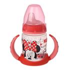 Обучающая бутылочка с насадкой для питья из силикона Mickey Mouse, 150 мл, от 6 до 18 мес., цвет красный