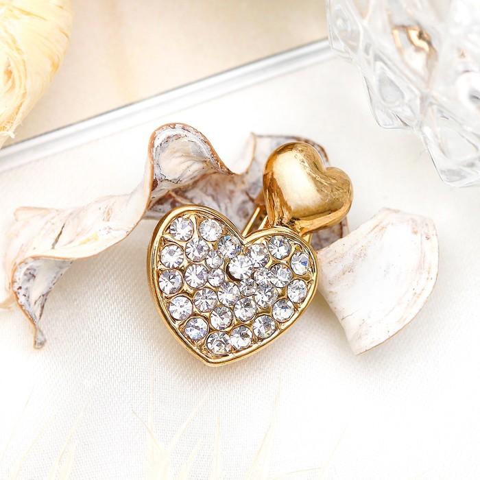 """Брошь """"Сердечки пара"""" малая, цвет белый в золоте"""