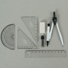 Циркуль металлический в пластиковом пенале, с механическим карандашом+грифели+ластик+линейка+2 треугольника+транспортир МИКС