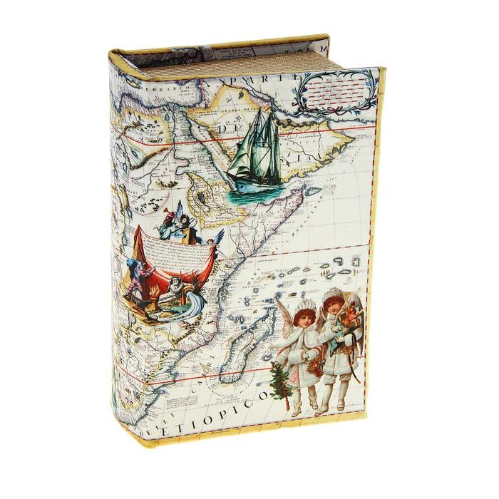 """Сейф-книга """"Карта странствий по морям"""", обита шёлком"""