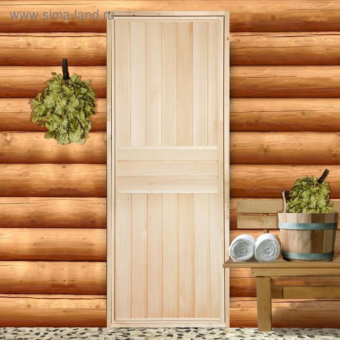 """Дверь глухая """"ЭКСТРА"""", вертикаль, липа, 180 х 70см + коробка липа"""