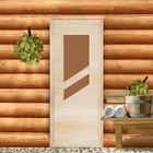 """Дверь для бани и сауны «Косое стекло», 180х70см, """"Добропаровъ"""""""