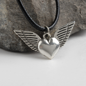 Кулон на шнурке 'Сердце' ангел, цвет чернёное серебро, 45см Ош