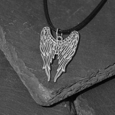"""Кулон мужской """"Крылья"""", цвет чернёное серебро, 45см"""