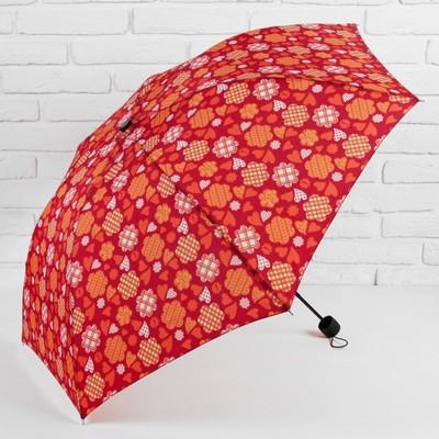 """Зонт механический """"Сердечки"""", R=55см, цвет красный"""