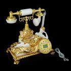 Телефон ретро полистоун, Девушка задумалась, белый с золотом 27*30см