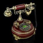 Телефон ретро полистоун, Круг с узором из лепнины Бабочка бронза, коричневый 23*26см
