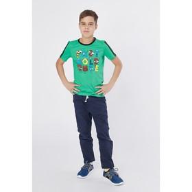"""Футболка для мальчика """"Веселые буквы"""", рост 122-128 см (32), цвет зёленый Р108639"""