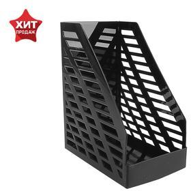 Лоток для бумаг вертикальный STAMM XXL, чёрный, ширина 16 см