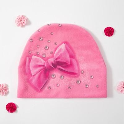 """Шапка детская Collorista """"Бант"""", розовый, р-р 54, флис"""