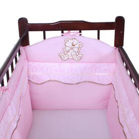 Бортик в кроватку, цвет розовый 18.27