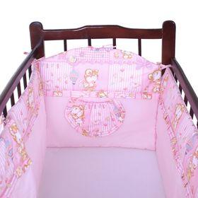 Бортик в кроватку, цвет розовый микс 18.12