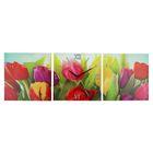 Часы настенные модульные «Разноцветные тюльпаны», 35 × 110 см