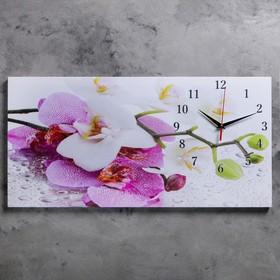 """Часы настенные на холсте """"Орхидеи"""", 40х76 см  микс"""
