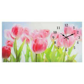 """Часы настенные на холсте """"Розовые тюльпаны"""", 40х76 см  микс"""