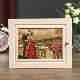 "Ключница Л-265 ""Пара в Париже"" беленый дуб  19х24 см"