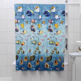 """Штора для ванной 180х180 см """"Морской риф"""", EVA"""