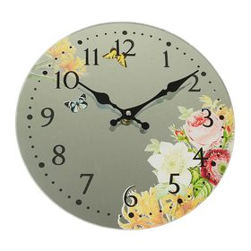 """Часы настенные круг серия """"Есения"""" Бабочки и цветы на зеркале d=30см"""