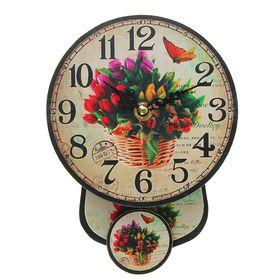 Часы настенные, серия Ретро с маятником «Тюльпаны в корзине», круглые, d=14 см