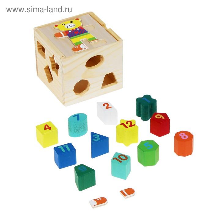 """Куб логический """"Цифры, фигуры и мишка"""""""