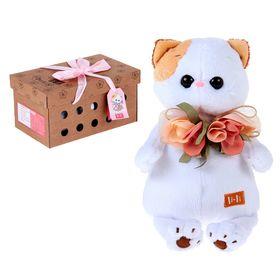 "Мягкая игрушка ""Кошечка Ли-Ли"" с цветами из шёлка 24 см"