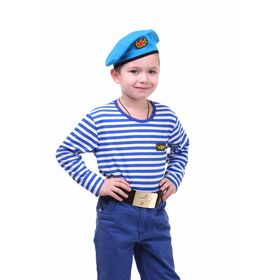 Детский костюм военного 'ВДВ', тельняшка, голубой берет, ремень, рост 122 см Ош