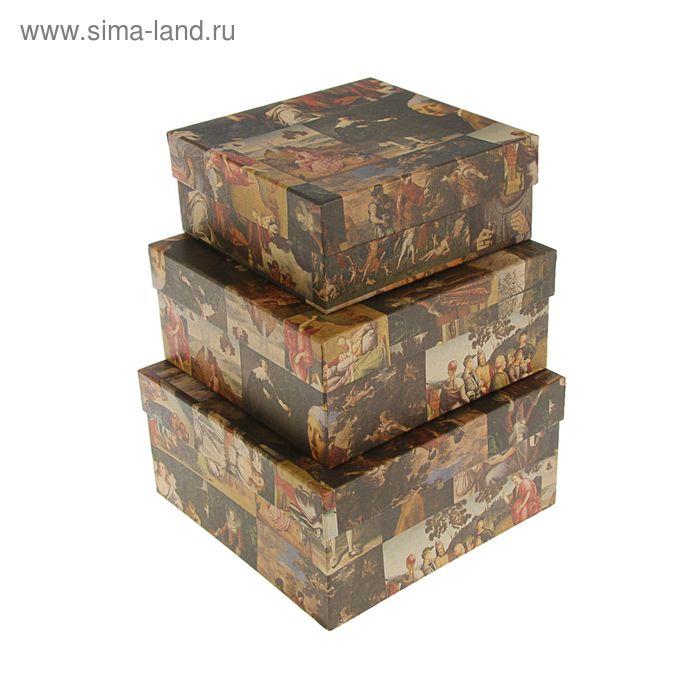"""Набор коробок 3в1 """"Ренессанс крафт"""", 19 х 19 х 9.5 - 15.5 х 15.5 х 6.5 см"""