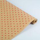 """Бумага упаковочная крафт """"Горох"""" красный на коричневом, 70 см х 8,5 м"""