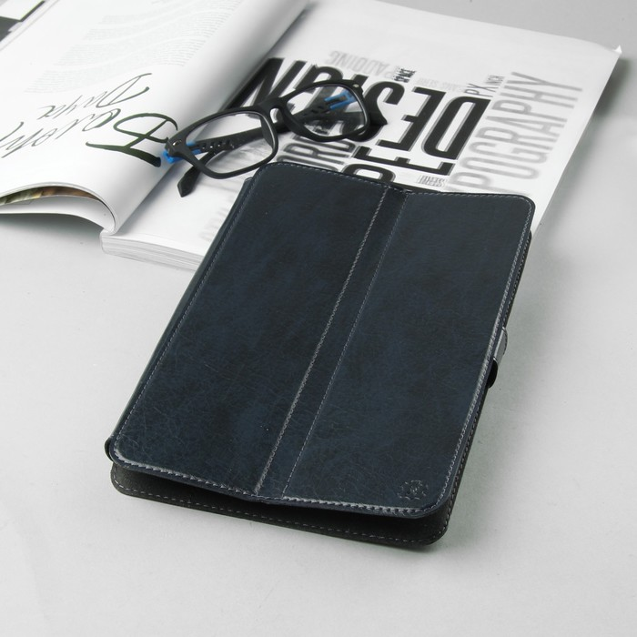 Чехол-книжка для планшета, с уголками, левосторонняя камера, цвет тёмно-синий