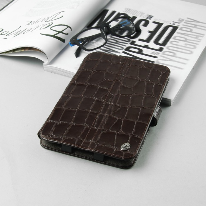"""Чехол-книжка """"Norton"""" для планшета, универсальный, 7"""", с клипсами, крокодил, цвет коричневый"""
