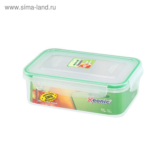 Контейнер пищевой прямоугольный 1 л, 7 см, зелёный