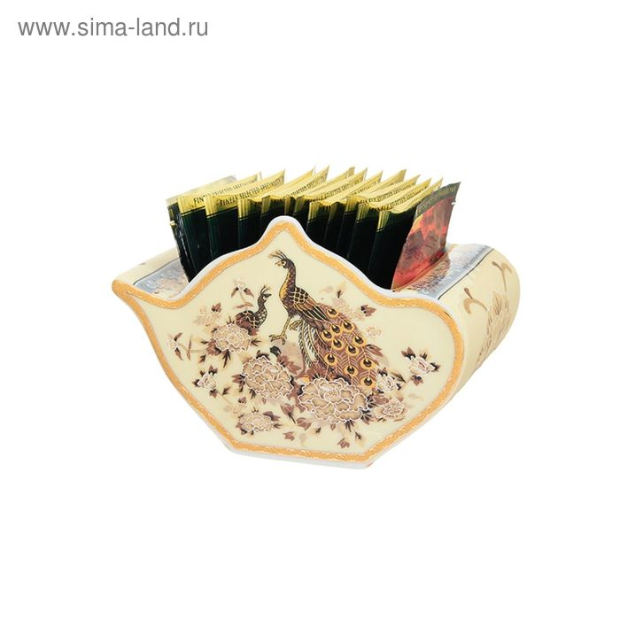 """Подставка для чайных пакетиков """"Павлин на бежевом"""", 12 х 9 х 8 см, 300 мл"""