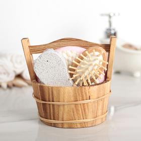 Набор банный 4 предмета: расческа, пемза, мочалка, ведёрко Ош