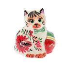 """Статуэтка """"Кот с мячом"""" цветы, 10 см"""