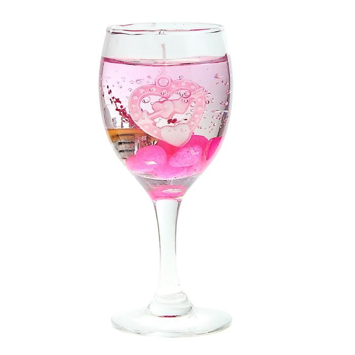 "Свеча гелевая световая ""Любовь"", цвет розовый"