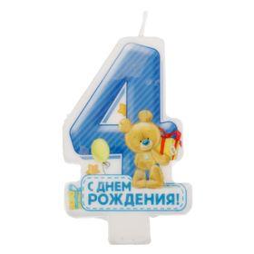 """Свеча в торт цифра """" 4 """""""