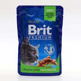 Влажный корм Brit Premium для стерилизованных кошек, курица, пауч 100 г