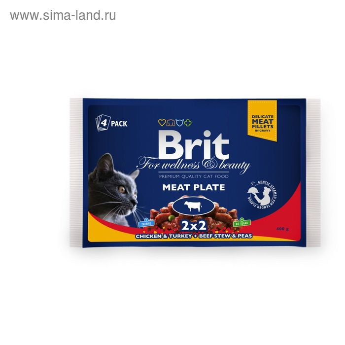 "Влажный корм Brit Premium для кошек ""Мясная тарелка"" пауч, 4 х 100 г"