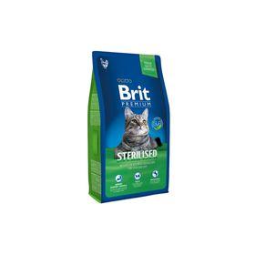 Сухой корм Brit Premium Сat Sterilised для стерилизованных кошек, курица+печень, 8 кг