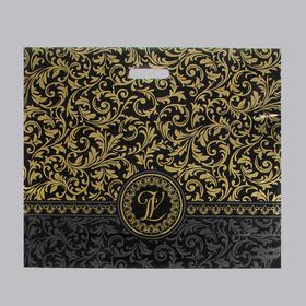 """Пакет """"Версаль"""" черный, полиэтиленовый с вырубной ручкой, 60х50 см, 70 мкм"""
