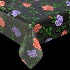 """Клеенка ПВХ, ширина 137 см, толщина 0,08 мм """"Цветные розы"""", рулон 30 м"""