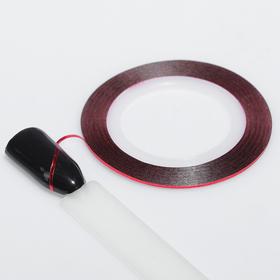 Клейкая лента для маникюра, 0,1см, 18м, цвет красный Ош