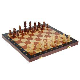 Шахматы настольные, фигуры из дерева, цифры и буквы вырезаны, поле складное 40 × 40 см