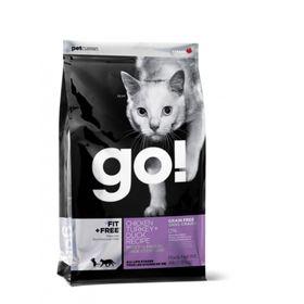 Корм беззерновой GO! для котят и кошек 4 вида мяса: Курица, Индейка, Утка, Лосось, 7,26кг